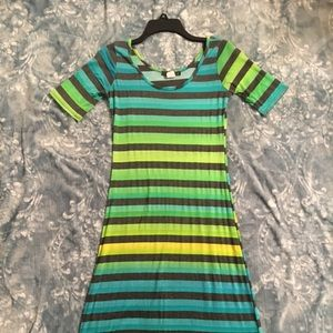 Pinc blue green yellow and gray striped maxi dress